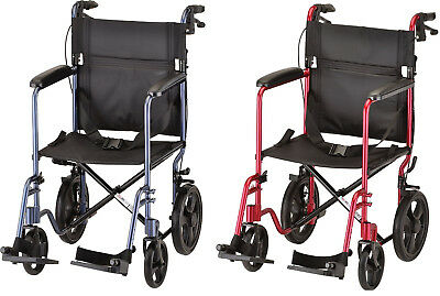 "Nova 19"" Lightweight Folding Transport Chair Wheelchair 12″ Rear Wheels RED BLUE"