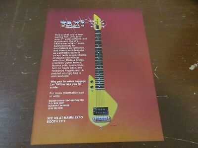 Taxi Portable Electric Guitar 1980's Magazine Print Ad