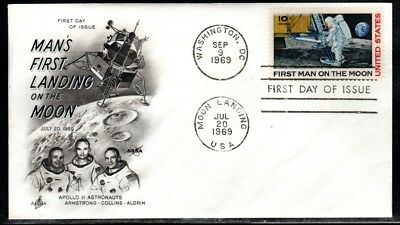 C-76 First Day Cover - First Man on the Moon stamp by Artcraft (Apollo 11 )