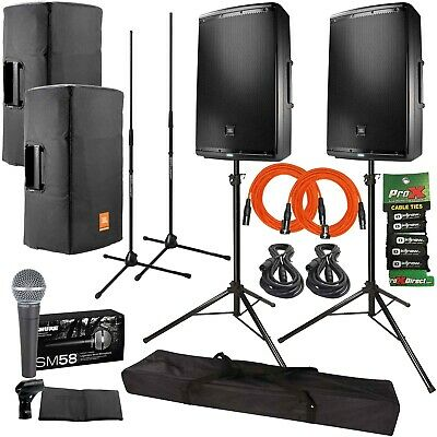 """JBL EON615 15"""" Powered Active 2 Way DJ PA Loud Speakers w Stands Covers SM58 Mic"""