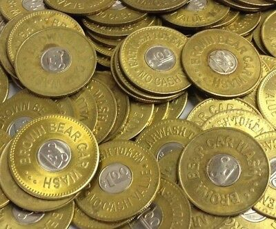 "24 x $1.00 ""BROWN BEAR CAR WASH"" Tacoma / Seattle WA (Active) 1.073"" Tokens"