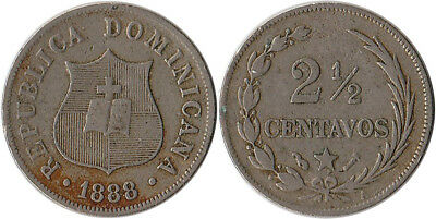 1888 (A) Dominican Republic 2-1/2 Centavos Coin KM#7.3