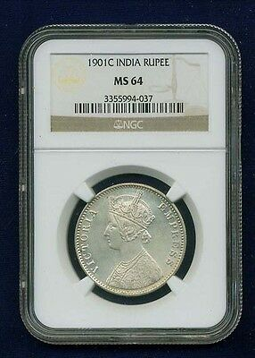 India British Victoria 1901-C  Rupee Silver Coin Uncirculated Certified Ngc Ms64