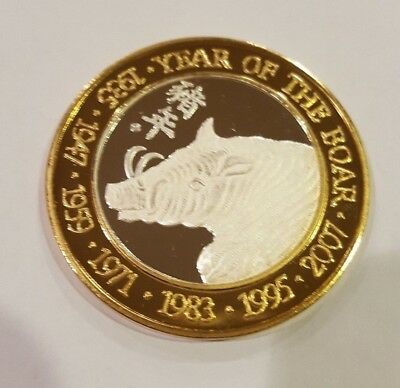 """Eastern Astrology Silver $10 Token """" Year Of The Boar"""" Collectors Edition"""