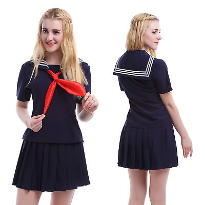 Women Girl Japanese School Girl Sailor Navy Uniform Outfit Costume Dress US Ship