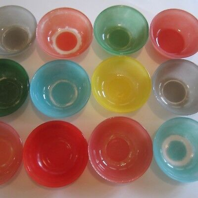 14 Vintage Harlequin Colour Pyrex Pie Pudding Dishes Red Green Blue Pink 1950s