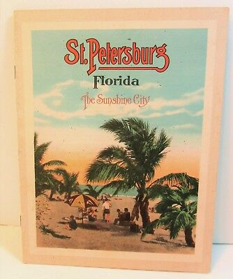 c 1930 St Petersburg Fl Color View Book Like Postcards Green Benches, Williams P
