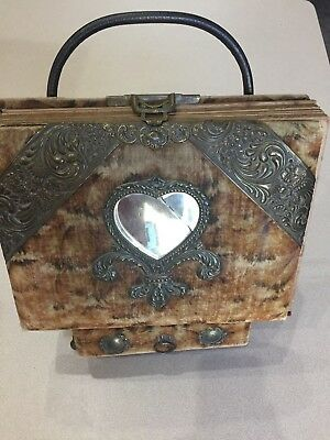 Beautiful Antique Vintage Victorian Photo Album with Stand Drawer Mirror