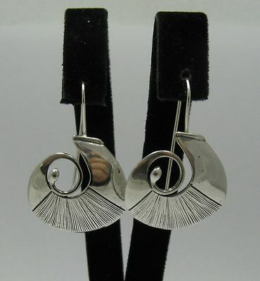 Genuine sterling silver handmade earrings Spiral on hook solid hallmarked 925