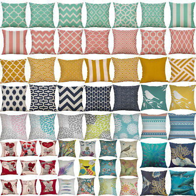 Print Geometric Linen Pillow Cases Sofa Car Cushion Home Decor Cushion Cover