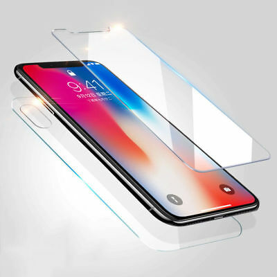 2Pcs Premium Front+Back Tempered Glass Screen Protector For Apple iPhone X 10