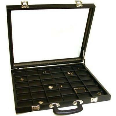 36 Unit Black Glass Top Travel Jewelry Display Case