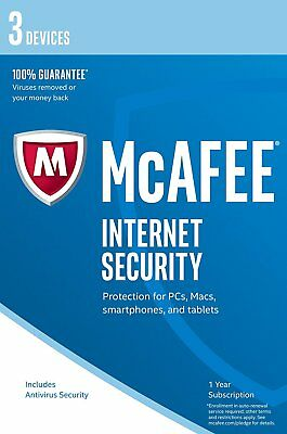 McAfee 2018/2019 Internet Security 1 Year 3 Users for PC/Mac OS/Android/iOS NEW