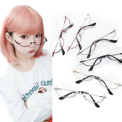 Harajuku Ins Lolita Metal Half Frame Oval Lens Glasses Cosplay Prop Accessory
