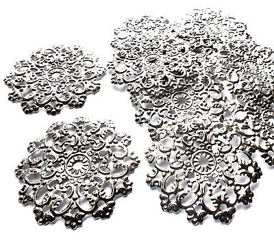 10 x Silver Plated Round Flower Filigree Stamped Embellishment Charm Decoration