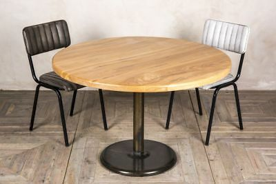 1.2M Round Dining Table Restaurant Or Kitchen Table Rustic Metal Pedestal Base