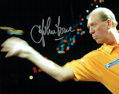 JOHN LOWE Chesterfield Dart Legend HAND SIGNED Autograph 10x8 Action Photo AFTAL