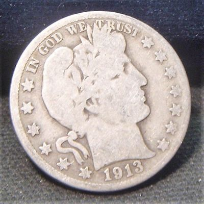 1913-S~~Barber Half Dollar~~Silver Beauty~~G-Vg   #2
