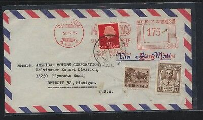 Indonesia  meter cover  with added postage  to  US           MS0118