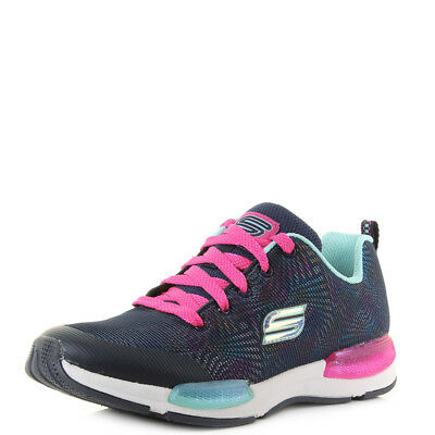bc83c8e6a31e KIds Skechers Jumptech Optic Haze Navy Multi Athletic Trainers Size
