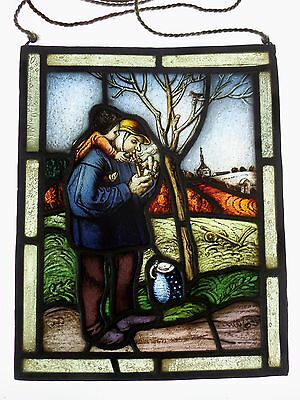 "LEADED GLASS WINDOW Image Original Stained Glass/Etching "" Grandfather with"