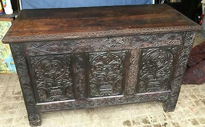 Antique Carved Oak Coffer blanket box storage Victorian Gothic style flowers