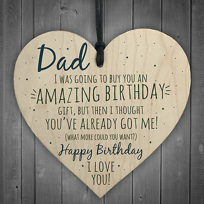 Amazing Happy Birthday Wooden Heart Dad Daddy Funny Card Baby Son Daughter Gifts