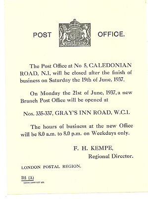 Gpo Notice/leaflet Post Office At No 5 Caledonian Road N1 Will Close June 1937