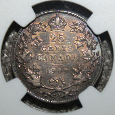 Canada 25 Cents 1909 NGC XF-45 Silver Coin - King Edward VII