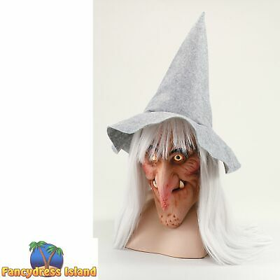 HALLOWEEN WITCH MASK WITH HAT & HAIR - womens ladies fancy dress accessory