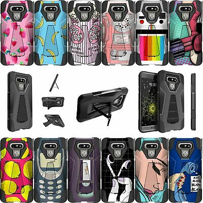 For LG G6 (2017) Dual Layer Bumper Case with Kickstand- Vintage Designs