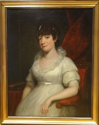 Large 19th Century Portrait of A Lady Wearing A White Dress Antique Oil Painting