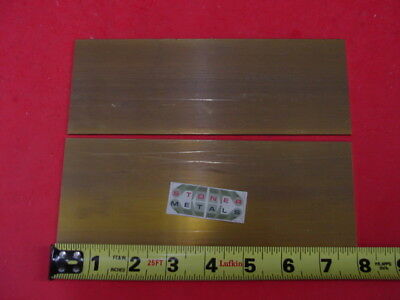 "2 Pieces 1/8"" x 3"" C360 BRASS FLAT BAR 8"" long Solid .125"" Plate Mill Stock H02"