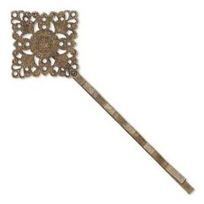 8 Antiqued Brass Plated Steel 21mm Filigree Diamond Hair Bobby Pins for Beading