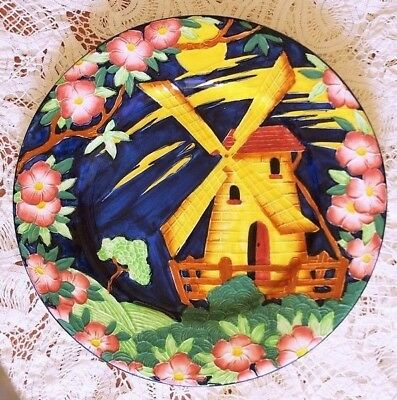 Colorful Maling  Large Plate  Windmill Pattern  11- 1/4 Inches