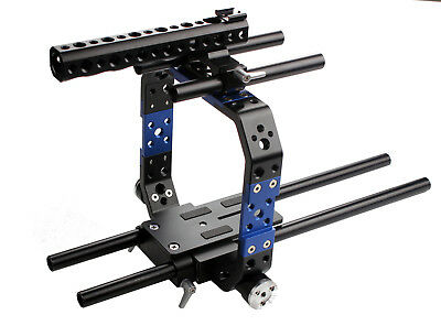 DSLR 15mm Rod Cage Rig Protection Brackets Baseplate Mount For BMCC C300 C500