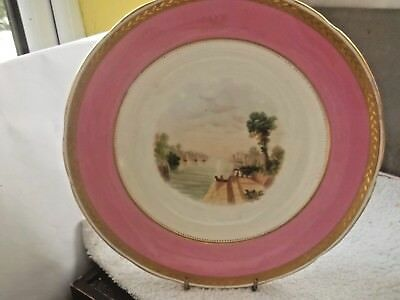 Vintage Dinner Plate By Minton  Pink Band And A Water Scene