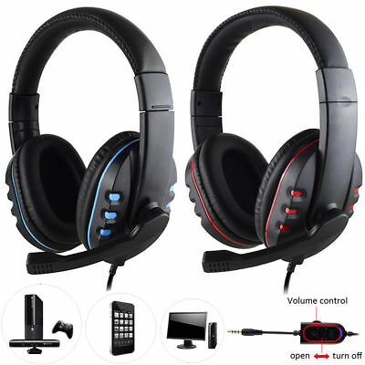 Gaming Headset Mic Stereo Surround 3.5mm Wired For PS4 Xbox PC Xboxone Universal