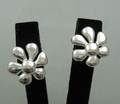 Genuine sterling silver earrings Flowers on post hallmarked solid 925 E000428