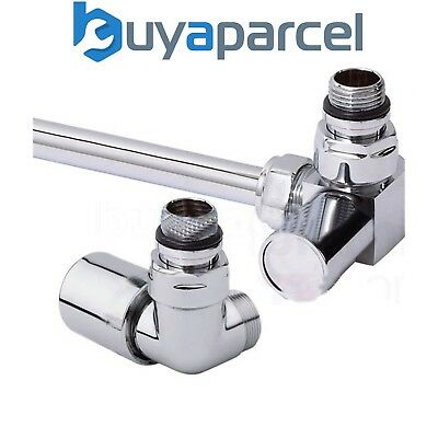 Pair CHROME Radiator Towel Rail Valves ANGLED CORNER 15mm Compression CRNV