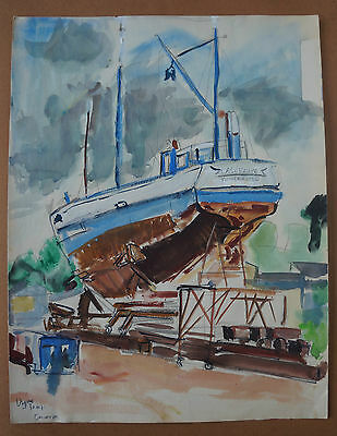 JEAN PAUL ULYSSE (1925/2011) - TRAWLER PORT OF CONCARNEAU - Signed
