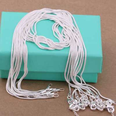 5PCS wholesale 925Sterling Solid Silver 2MM 16-24 Inches Snake Chain Necklace