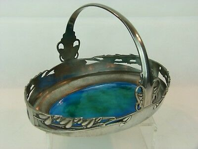 Fabulous Liberty & Co Tudric Pewter Cake Basket w/ Enamel Plaque-Archibald Knox.