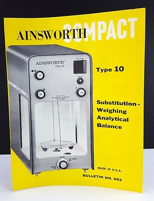 Vintage Ainsworth and Sons 1962 Compact Type 10 Balance Brochure Bulletin