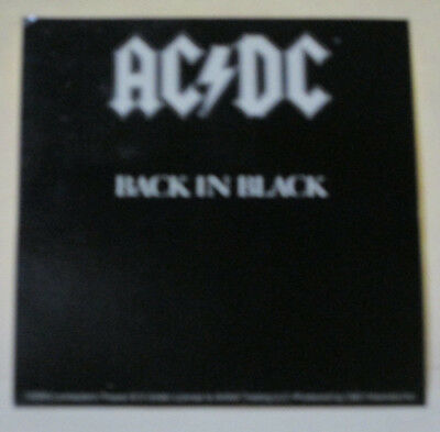 """Ac/dc Back In Black With White Logo 4""""x3 7/8"""" Sticker New"""