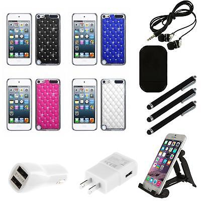 For Apple iPod Touch 5th 6th Gen Executive Hard Case Diamonds Phone Cover Combo