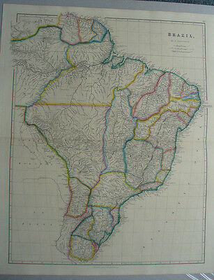 South America, Brazil ,Arrowsmith,1842,original antique map