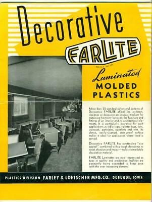 c 1960 FARLITE LAMINATED MOLDED PLASTIC RESTAURANT INTERIOR Farley Loetscher Co