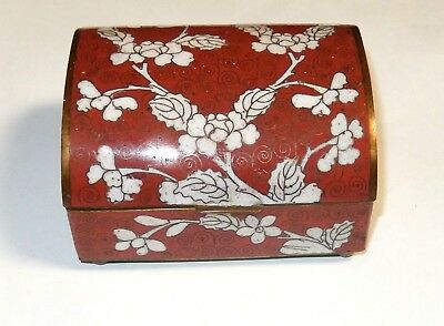 Old Chinese Cloisonne Red Enamel White Floral Humidor Footed Jar Box