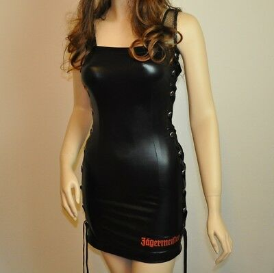 Jägermeister USA Größe M schwarzes Minikleid Party Dress Leder Wetlook Optik